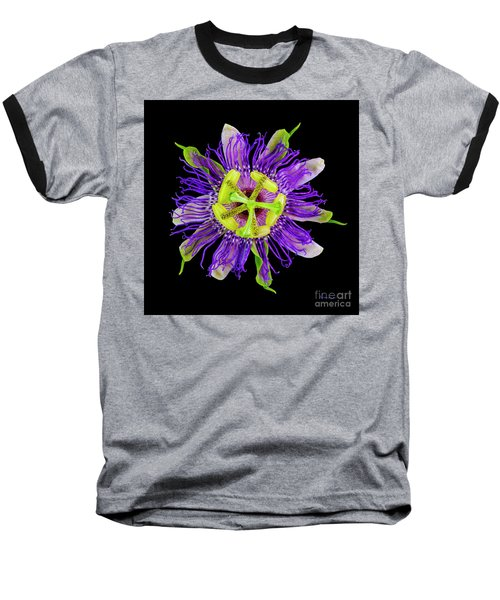 Expressive Yellow Green And Violet Passion Flower 50674c Baseball T-Shirt
