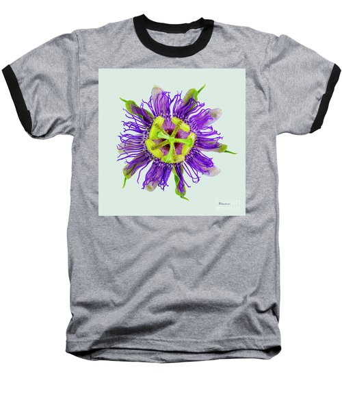 Expressive Yellow Green And Violet Passion Flower 50674l Baseball T-Shirt