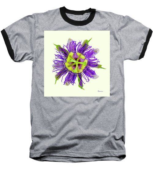 Expressive Yellow Green And Violet Passion Flower 50674y Baseball T-Shirt