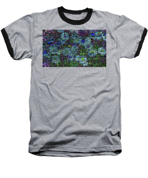 Extraordinary Blue Daisies Graffiti On A Brick Wall Baseball T-Shirt
