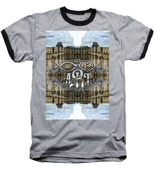 Eye Heart Art Louvre Silver Paris Da Vinci Gears Baseball T-Shirt