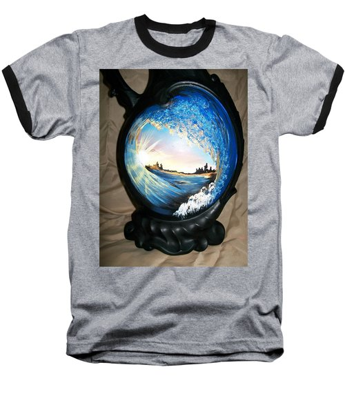 Baseball T-Shirt featuring the painting Eye Of The Wave 1 by Sharon Duguay