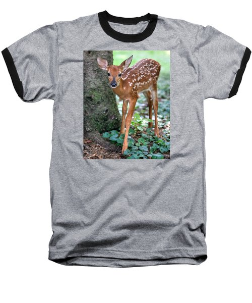 Baseball T-Shirt featuring the photograph Eye To Eye With A Wide - Eyed Fawn by Gene Walls