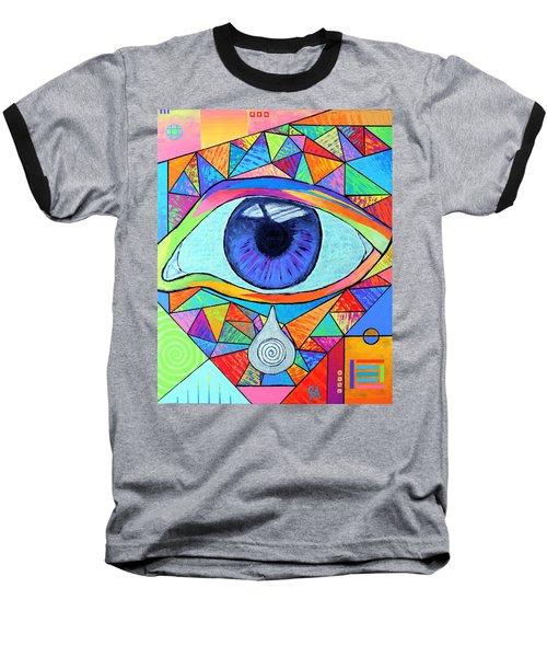 Eye With Silver Tear Baseball T-Shirt by Jeremy Aiyadurai
