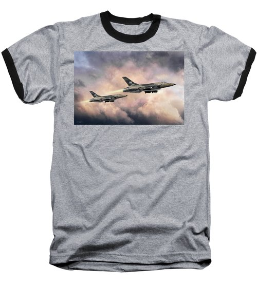 Baseball T-Shirt featuring the digital art F-105 Thunderchief by Peter Chilelli