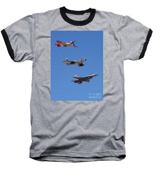 F-16 P-51d F-86 Heritage Flight- Flyby Baseball T-Shirt