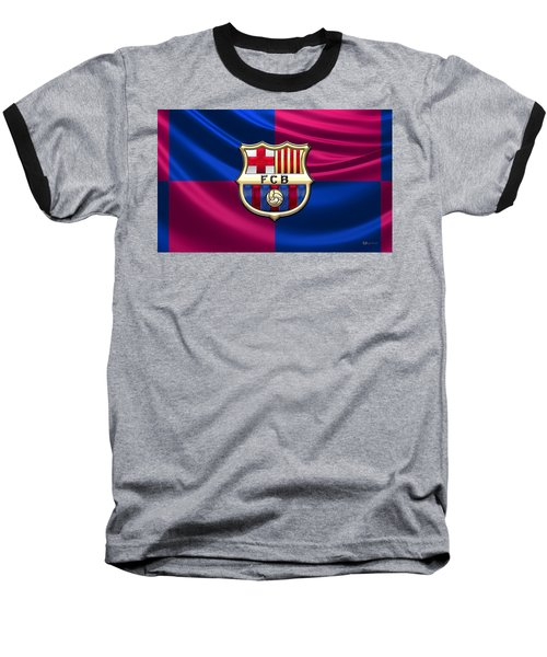 F. C. Barcelona - 3d Badge Over Flag Baseball T-Shirt