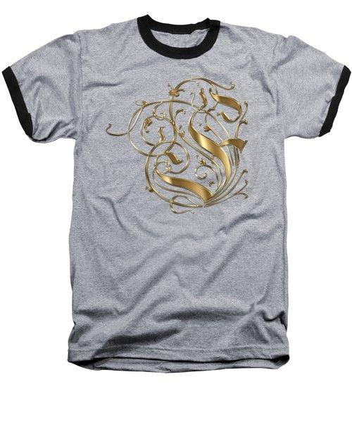 F Ornamental Letter Gold Typography Baseball T-Shirt