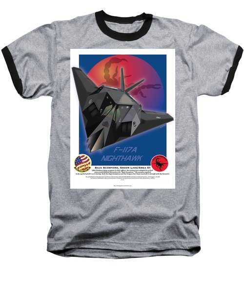 Baseball T-Shirt featuring the drawing F117a Nighthawk by Kenneth De Tore