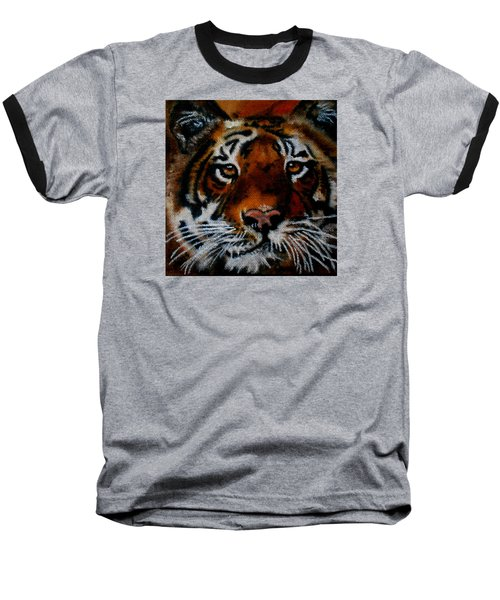 Face Of A Tiger Baseball T-Shirt by Maris Sherwood