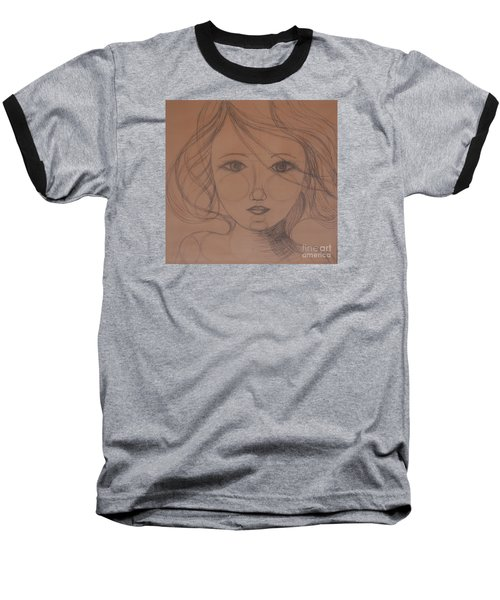 Face Study Baseball T-Shirt by Tamyra Crossley