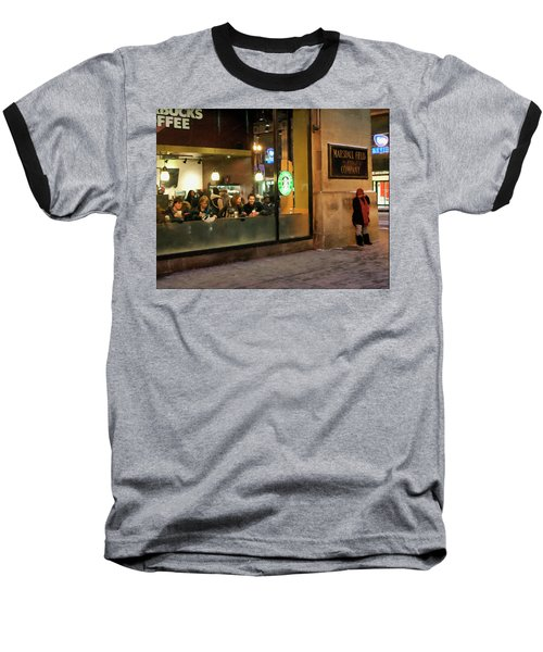 Baseball T-Shirt featuring the digital art Faces At The Coffeehouse by Chris Flees