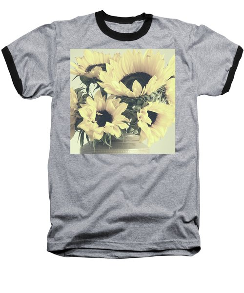 Faded Sunflowers Baseball T-Shirt