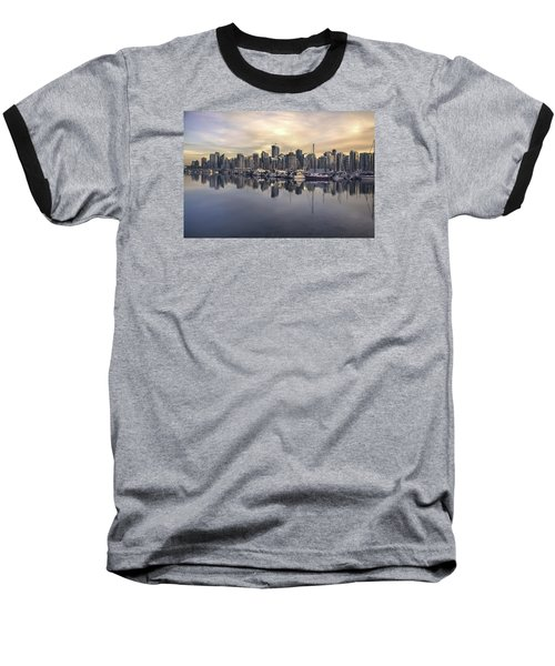 Fading Sun Over Downtown Vancouver Baseball T-Shirt by Sabine Edrissi