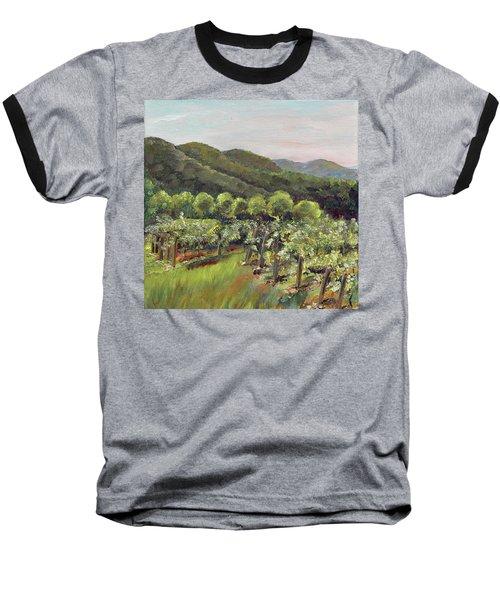 Baseball T-Shirt featuring the painting Fainting Goat Valley - Vineyards -  Jasper, Ga by Jan Dappen