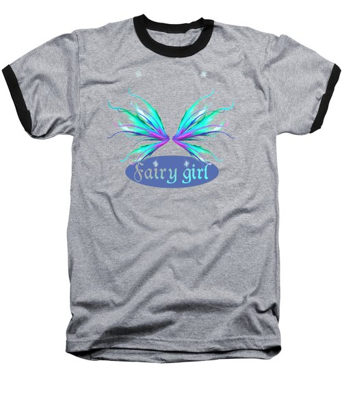 Fairy Girl Feathery Wings Baseball T-Shirt