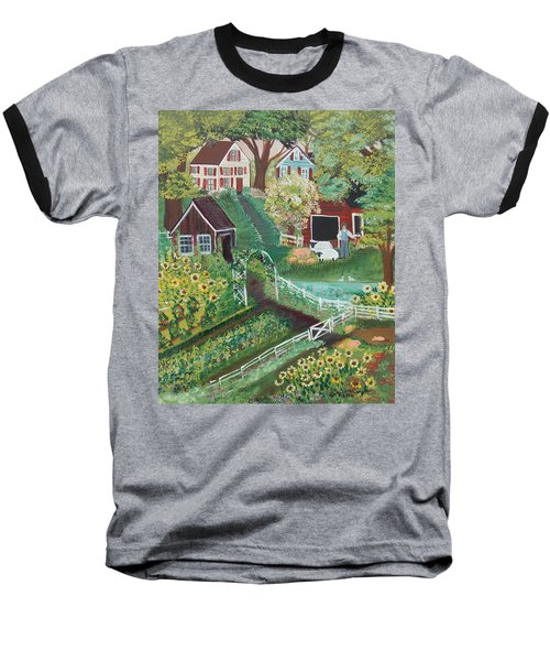 Baseball T-Shirt featuring the painting Fairview Farm by Virginia Coyle