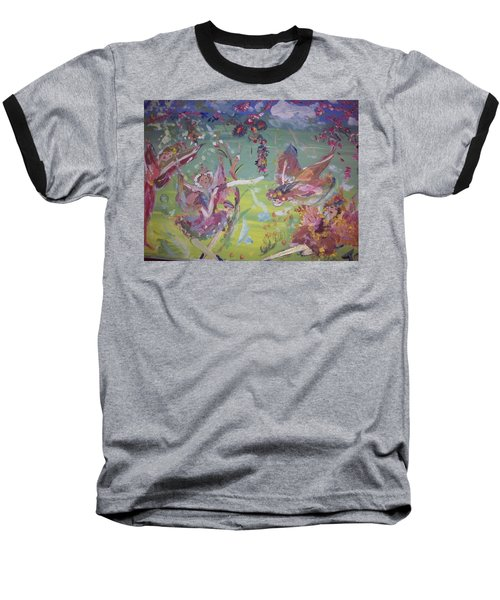 Baseball T-Shirt featuring the painting Fairy Ballet by Judith Desrosiers