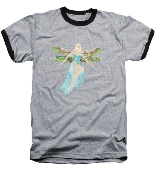 Fairy In The Blue Dress Baseball T-Shirt by Tom Conway
