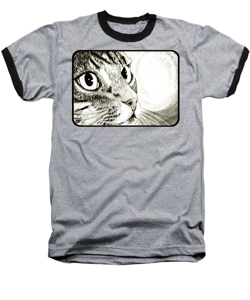 Baseball T-Shirt featuring the drawing Fairy Light Tabby Cat Drawing by Carrie Hawks