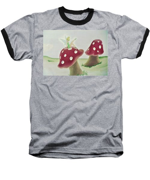 Fairy On Mushroom Trees Baseball T-Shirt