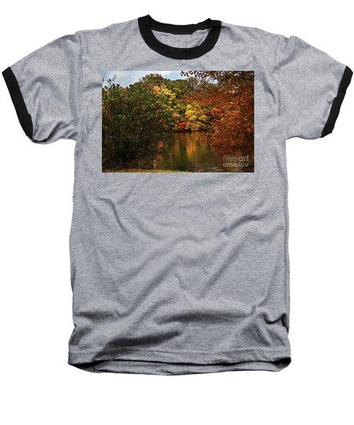 Fall At The Lake Baseball T-Shirt by Judy Wolinsky