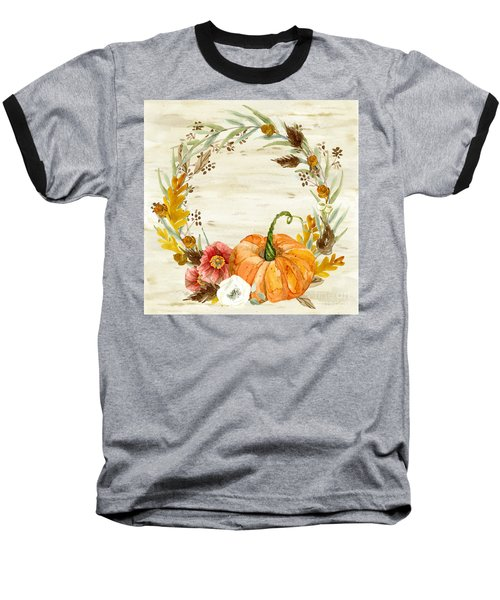 Baseball T-Shirt featuring the painting Fall Autumn Harvest Wreath On Birch Bark Watercolor by Audrey Jeanne Roberts