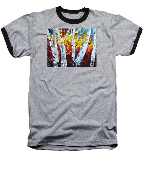 Fall Birch Trees Baseball T-Shirt