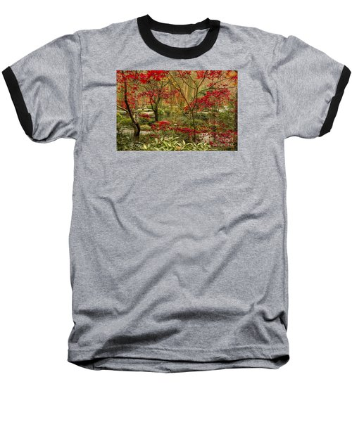 Baseball T-Shirt featuring the photograph Fall Color In The Japanese Gardens by Barbara Bowen