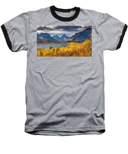 Baseball T-Shirt featuring the photograph Fall Colors In Glacier National Park by Pierre Leclerc Photography