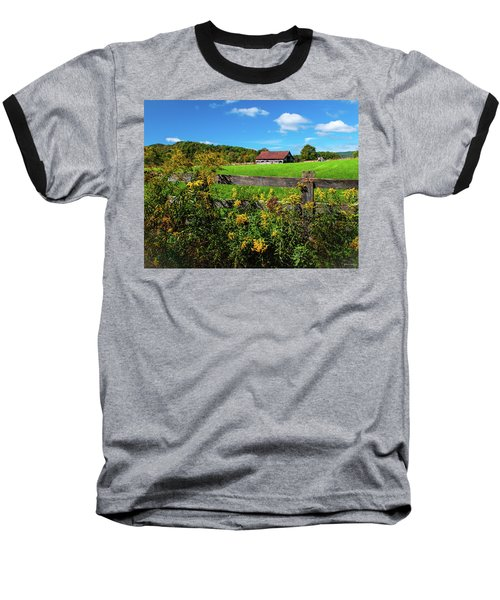 Fall Farm Baseball T-Shirt by Rebecca Hiatt