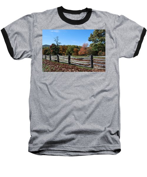 Fall Fence Baseball T-Shirt by Eric Liller