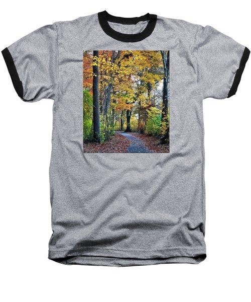 Fall Foliage Baseball T-Shirt by Mikki Cucuzzo