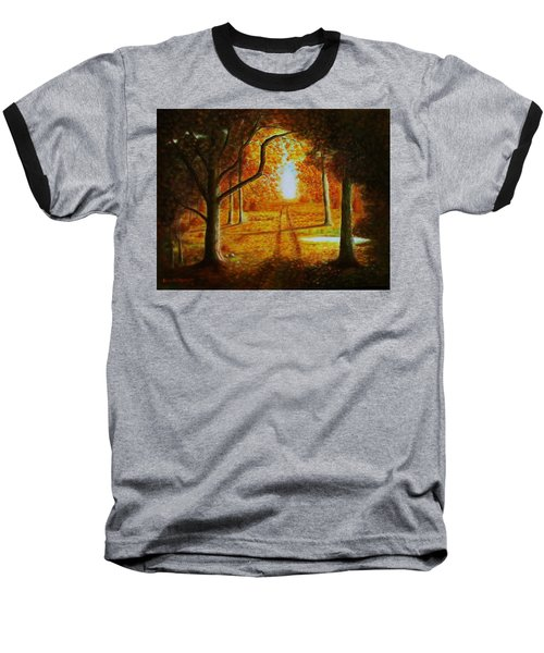 Fall In The Woods Baseball T-Shirt by Gene Gregory
