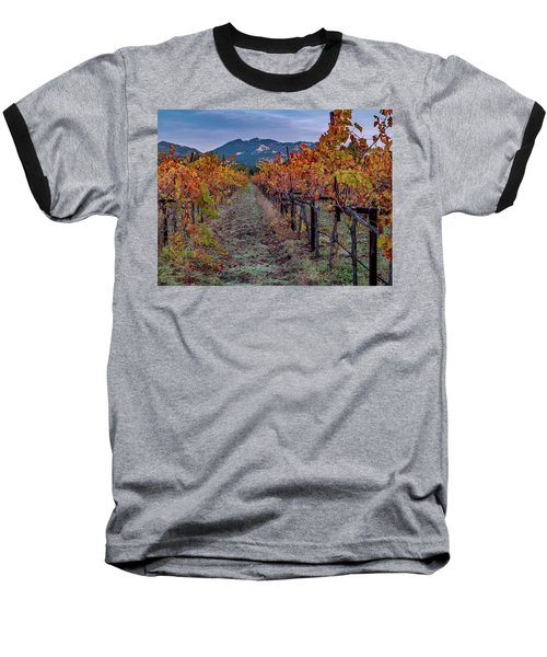 Baseball T-Shirt featuring the pastel Fall In Wine Country by Bill Gallagher
