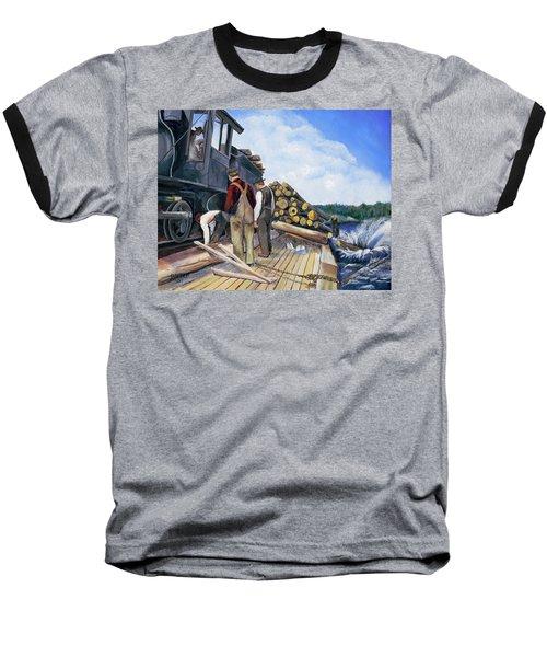 Fall Lake Train Baseball T-Shirt