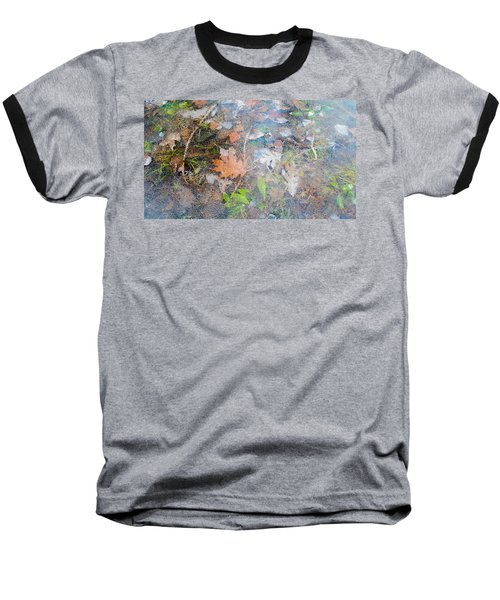 Fall Leaves In A Frozen Puddle Baseball T-Shirt