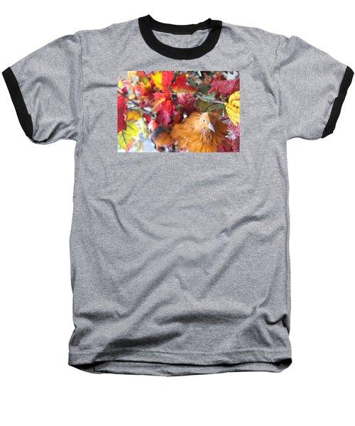 Fall Leaves W/bird Baseball T-Shirt