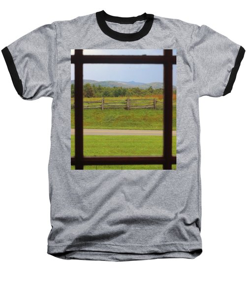 Fall Mountains Through The Window  Baseball T-Shirt