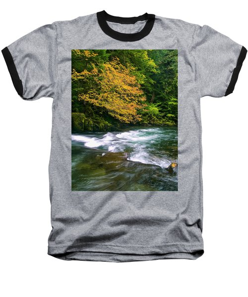 Fall On The Clackamas River, Or Baseball T-Shirt