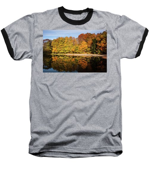 Fall Ontario Forest Reflecting In Pond  Baseball T-Shirt