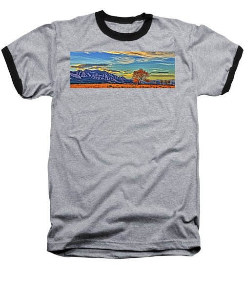 Baseball T-Shirt featuring the photograph Fall Over The Flatirons by Scott Mahon