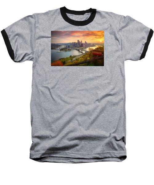 Fall Pittsburgh Skyline  Baseball T-Shirt by Emmanuel Panagiotakis