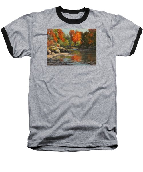 Baseball T-Shirt featuring the painting Fall Reflections by Karen Ilari