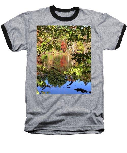 Fall Reflections Baseball T-Shirt by Nancy Landry