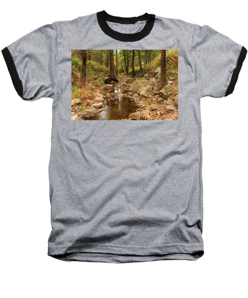 Baseball T-Shirt featuring the photograph Fall Stream And Rocks by Roena King