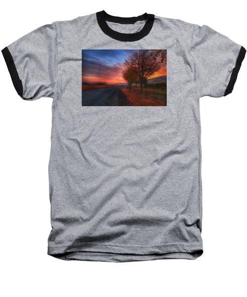 Fall Sunrise Baseball T-Shirt by Lynn Hopwood