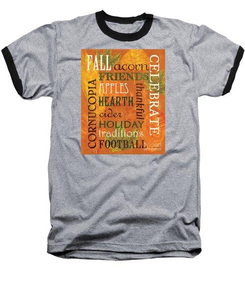 Fall Typography 2 Baseball T-Shirt