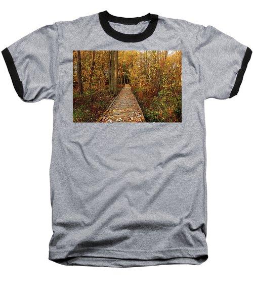 Fall Walk Baseball T-Shirt by Debbie Oppermann
