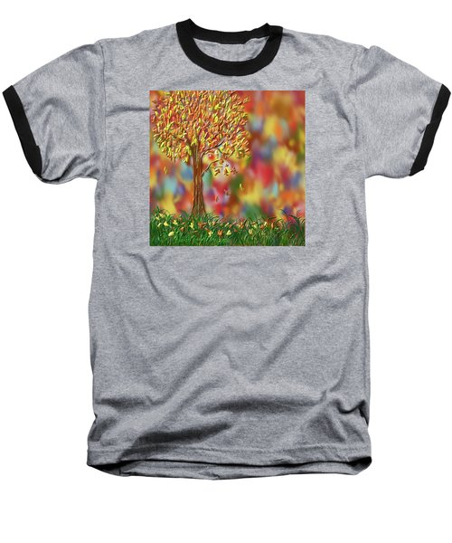Baseball T-Shirt featuring the painting Falling Leaves by Kevin Caudill